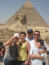 family in front of sphinx s